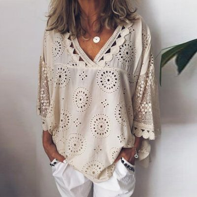 Women Blouse Hollow Out Lace Patchwork Geometry V-neck Summer Shirt
