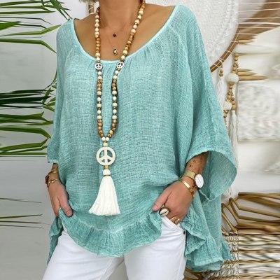 Summer Women Blouse Linen Blouses Three Quarter Sleeve Beach Shirt