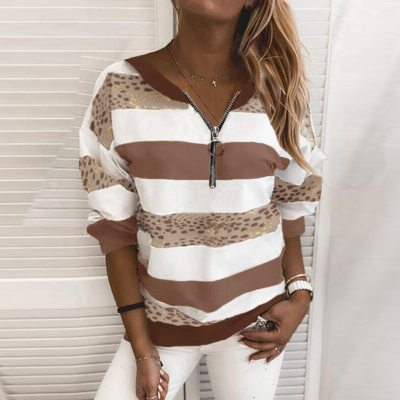 Fashion Ladies Long Sleeve Stitching Color Zipper Striped Sweatshirt