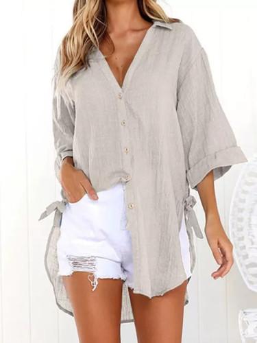 Women Blouse Loose Cotton Linen Buttons Lapel Solid Long Shirt