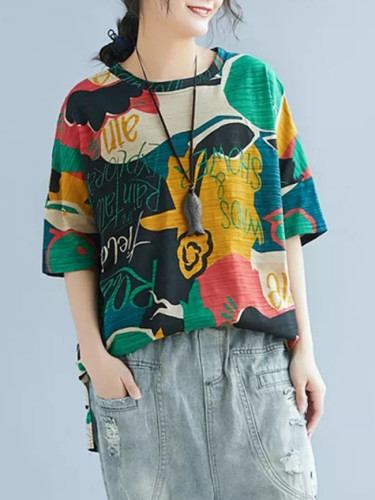 Women Short Sleeve T Shirt Color Block Printed Loose Round Collar Tee Tunic