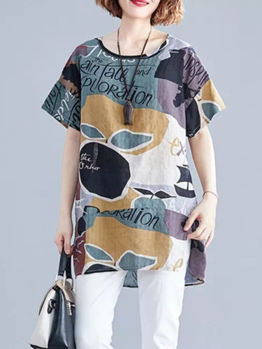 Women Summer T-Shirt  Loose Printed Short Sleeve Tunic Tops