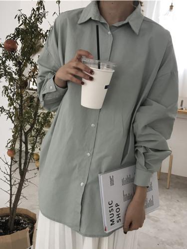 100% cotton Women's Blouse 4 Colors oversized blouses shirts