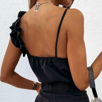 Women Sexy V Neck Ruffle Backless Sleeveless Casual Tops