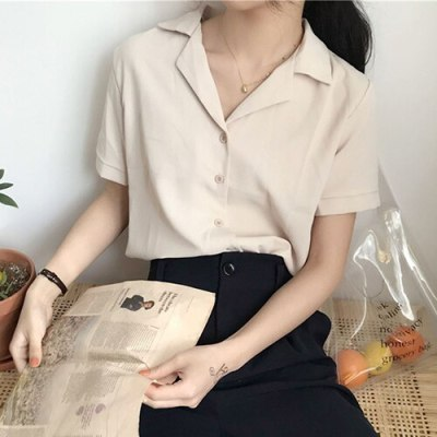 Summer Blouse Shirt For Fashion Short Sleeve V Neck Casual White Shirts Tops