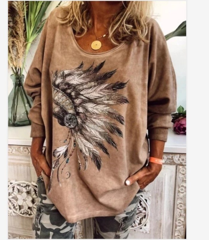 Loose Casual Digital Feather Printing T Shirt Long Sleeve O Neck Ladies Tee