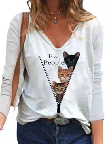 Fashion Cat Print T-shirt Casual V-neck Long Sleeve White Tops