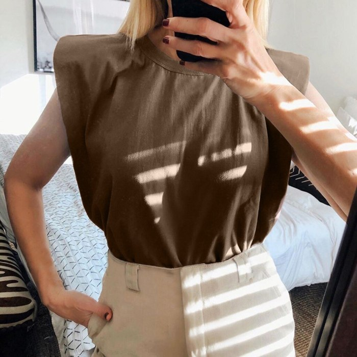 Vintage Round Neck Ladies Loose Solid Color Sleeveless Casual Tops