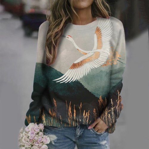 Animal Printing Sweatshirt Pullover Long Sleeve Hooded Sweatshirts Tops