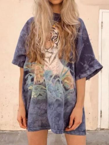 Tiger Print Fashion Tops Women Casual O-Neck Short Sleeve Oversize T-Shirt