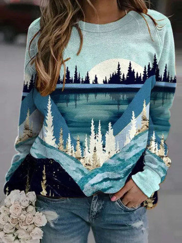 Women Mountains Print Sweatshirt Casual Blouse Pullover Long Sleeve