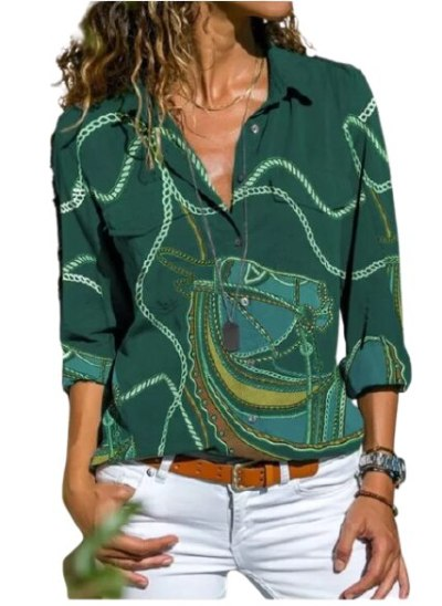 Fashion Print Women's Blouse Casual Lapel Long Sleeve Button Top