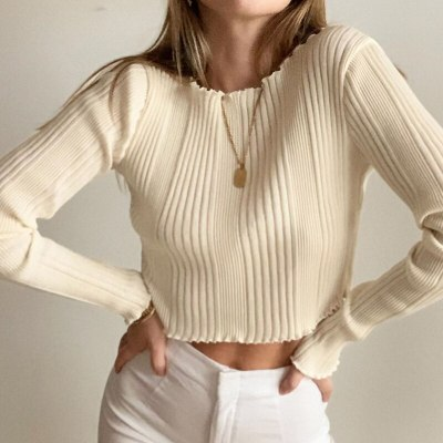 Women Soft Solid Color Knitted Basic T-shirt Long Sleeve Ruffled Round Neck Casual Top