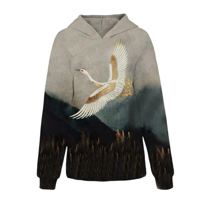 Animal Printing Sweatshirt Pullover Long Sleeve Hooded Sweatshirts Tops