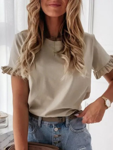 Casual Solid Ruffle Short Sleeve Shirt Summer O Neck Pullovers