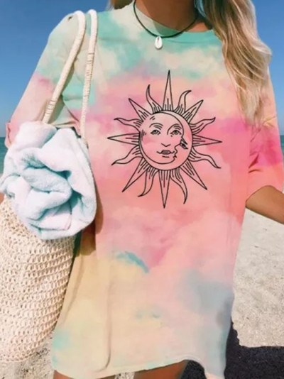 Tie-dye Sun Print Female T-shirt O Neck Pullover