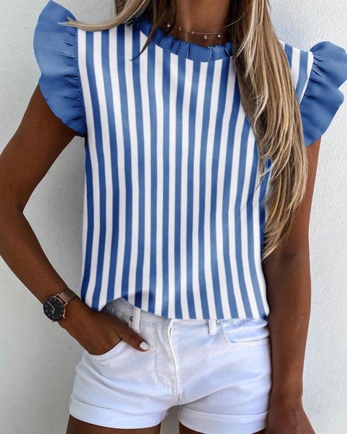 Striped Print Ruffled Shirt Summer sleeveless Heart Casual Blouse