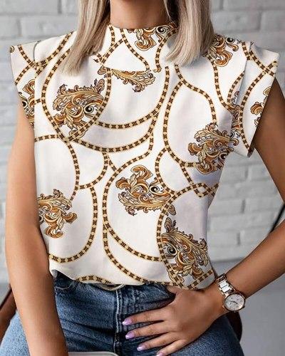 Summer Shirt Ladies Mid-high Collar Simplicity White Tops