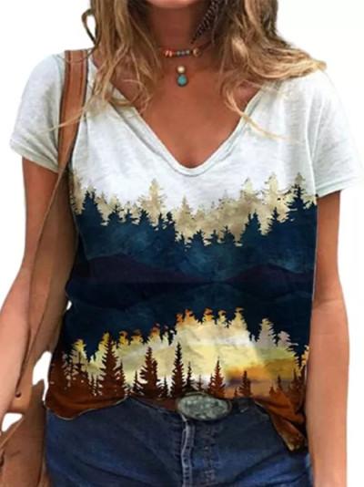 Landscape Butterfly Print Tops Casual  V-Neck Short Sleeve T-shirt