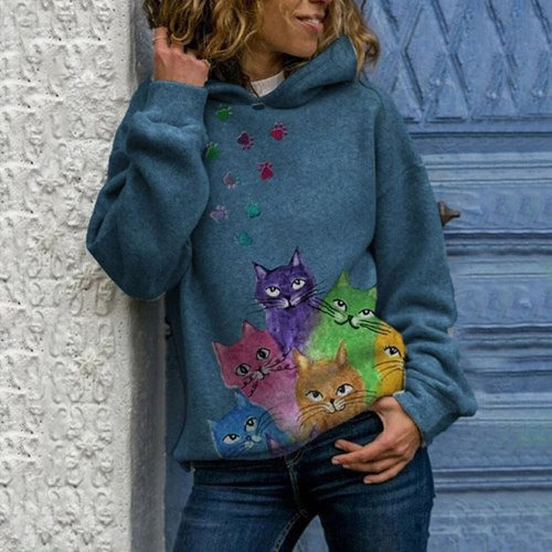 Women Hoody Animal Printing Sweatshirts Long Sleeves Pullover Tops