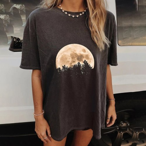 Printed T-Shirt for Women Short Sleeve Casual Tops  Black T-shirts