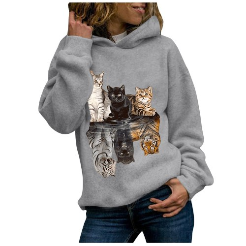 Women Hoody Animal Printing Sweatshirts Long Sleeves Hoodies