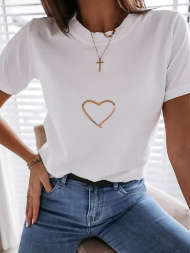 Summer Women Fashion Heart Print Short Sleeve Casual T-shirt Casual O Neck Basic