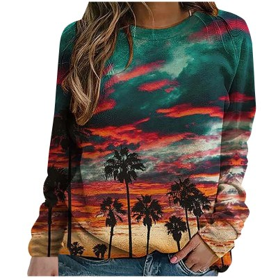 Ladies Landscape Print O-neck Long Sleeves Casual Loose Tops