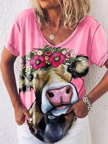 Summer new short sleeve ox head print V-neck loose T-shirt