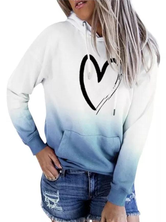 Women Hoodies Gradient Color Block Long Sleeve Pullover Loose Top
