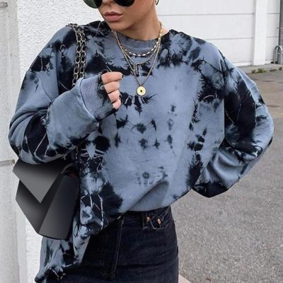 O-neck Autumn Sweatshirts Long Sleeve Loose Casual Lady Pullover Tops