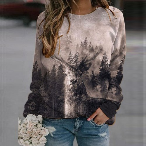 Women Mountains Print Sweatshirt Casual Blouse Pullover Long Sleeve