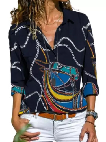 Fashion Print Women's Blouse Casual Lapel Long Sleeve Button Top
