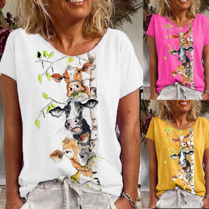 White T-shirt Woman Summer Harajuku O-neck Short Sleeves Print Pullover Tops
