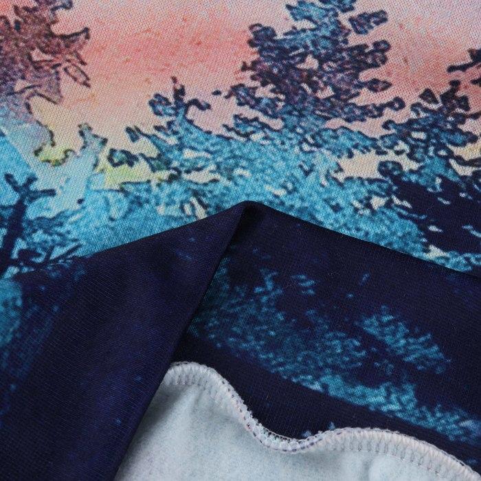Women Hoodie Sweatshirts Winter Landscape Printing Long Sleeve Hooded Tops