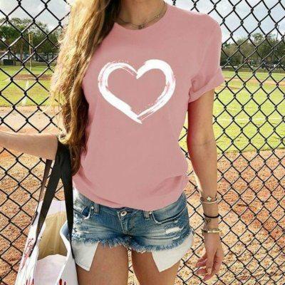 Women O Neck Loose Tshirt 2020 Summer Tee Tops Short Sleeve