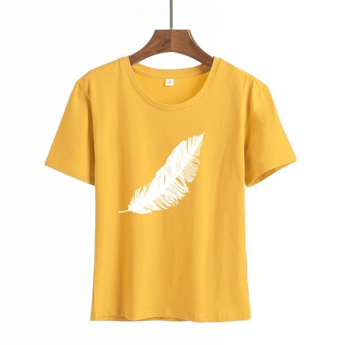 Summer Wildflower Dandelion Print Women Casual T-shirt