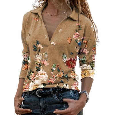 Fashion Lapel Flowers Print Pullover Tops Casual Women Autumn Long Sleeve