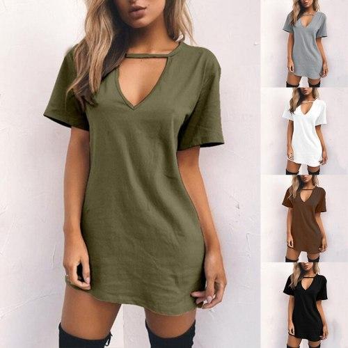 Women Choker DeepV-neck Summer Dresses Mini T-Shirt Dress Short Sleeve