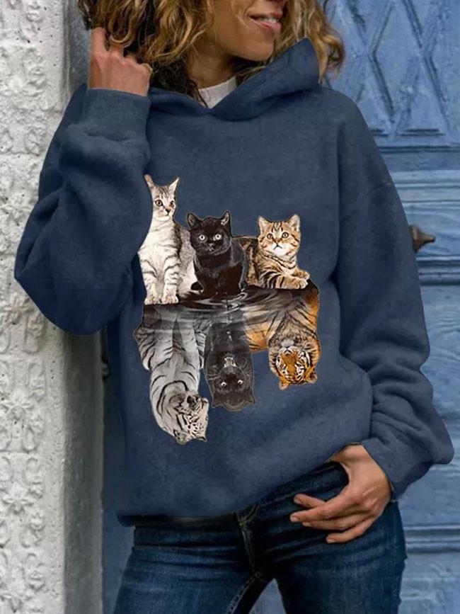 Women Hoody Animal Printing Sweatshirts Long Sleeves Hoodies