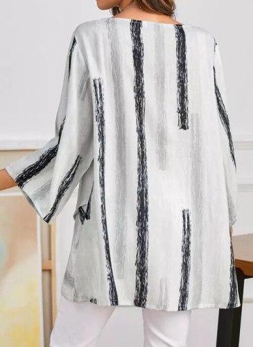 Spring Women Hole Ruffles Strip Vintage Casual Shirt
