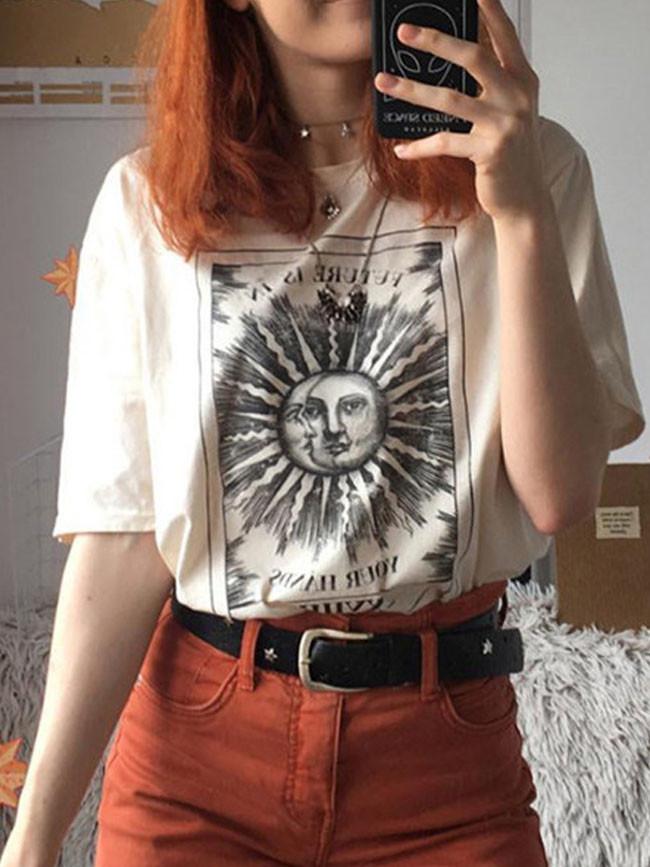 Female T-shirt Sun moon Print Short Sleeve Tops