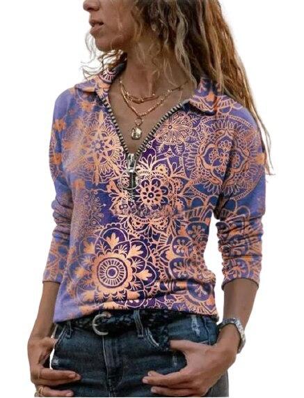T-shirt Retro Print Half Zip V-Neck Long Sleeve