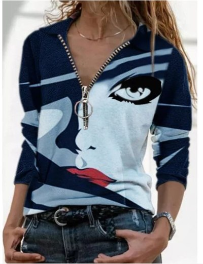 Vintage Zip T-shirt Women Autumn Casual V-Neck Long Sleeve Tops