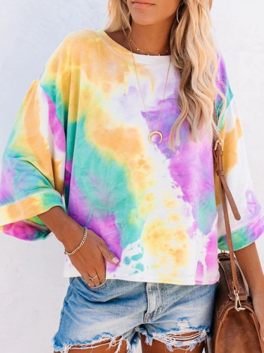 New Long Sleeve Loose Tie-dye Printed casual O Neck Ladies T-shirt Tops