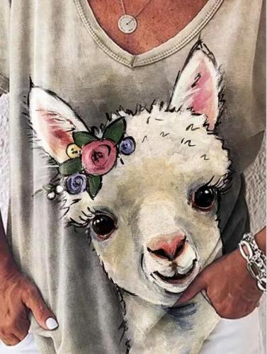 Summer new short sleeve retro lamb V-neck T-shirt