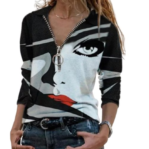 Vintage Zip T-shirt Women Autumn Casual V-Neck Long Sleeve Tops