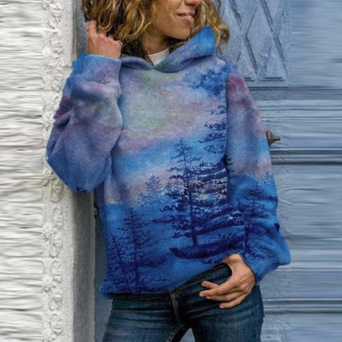 Women Hoodie Sweatshirts Winter Landscape Printing Long Sleeve Hooded Tops