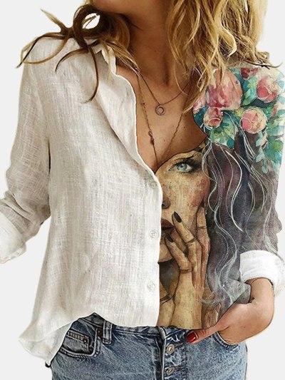 Fashion Retro Portrait Floral Print Stitching Button Long Sleeve Cotton Linen Blouses