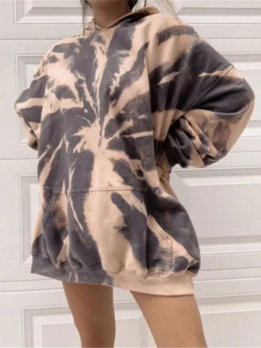 Tie-Dye Printed Sweatshirts Round Neck Long Sleeve Colorful Print Hoodie